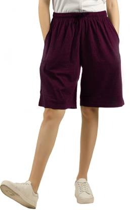 LAYA Solid Women Purple Regular Shorts