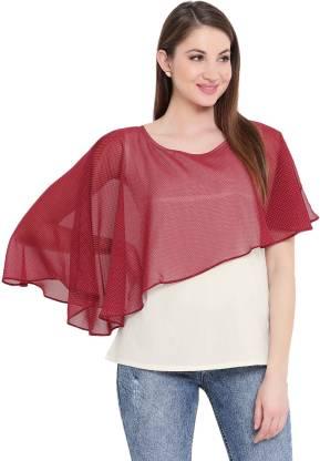 Casual Cape Sleeve Printed Women Maroon Top