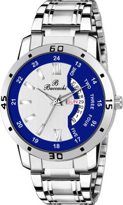 Buccachi B-GR5046-SLBL-CH Silver & Blue Dial Day & Date Functioning Water Resistant Stainless Steel Bracelet Watch for Men/Boys Analog Watch - For Men