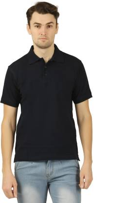 Solid Men Polo Neck Dark Blue T-Shirt