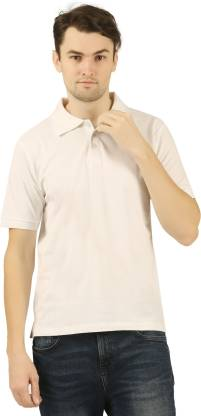 Solid Men Polo Neck White T-Shirt