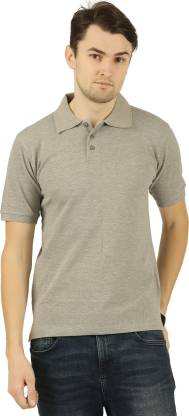 Self Design Men Polo Neck Grey T-Shirt