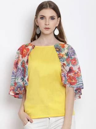 Casual Cape Sleeve Printed Women Multicolor Top