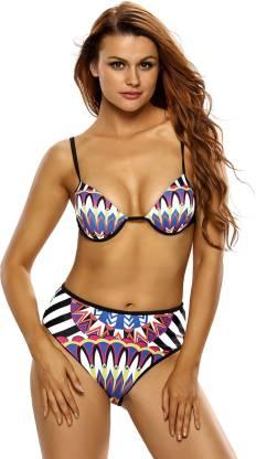 Tribal Print 2pcs High Waist Beachwear Swimming Costume Self Design Women Bikini Multicolor Swimsuit