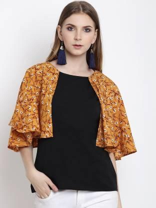 Casual Cape Sleeve Printed Women Black Top