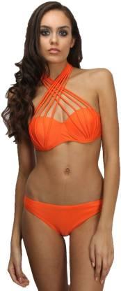 Neon Orang Beachwear Swimwear For Women Self Design Women Bikini Orange Swimsuit