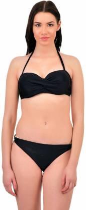 Black Sexy Bikini Beachwear Set For Women Self Design Women Bikini Black Swimsuit