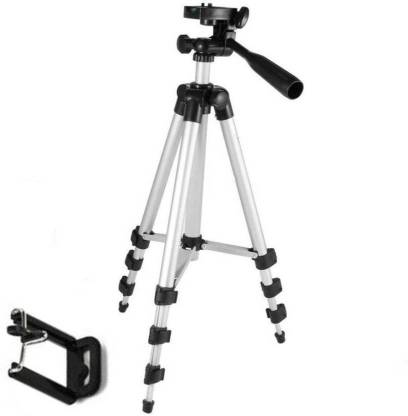 ZEOM ™ Tripod-3110 Portable Adjustable Tripod with Mobile Holder Mount Aluminum Lightweight Camera Stand Mobile Stand Selfie Stand With Three-Dimensional Head & Quick Release Plate Tripod(silver\black, Supports Up to 1500) Tripod