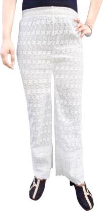 Regular Fit Women White Pure Cotton Trousers
