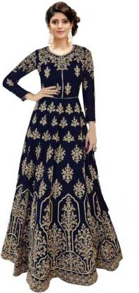 Embroidered Poly Silk Semi Stitched Anarkali Gown  (Blue)