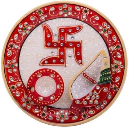 Rjkart Handmade Marble Multicolour Meenakari Work Pooja Thali Set Marble