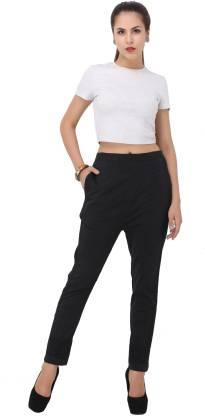 Regular Fit Women Black Cotton Trousers