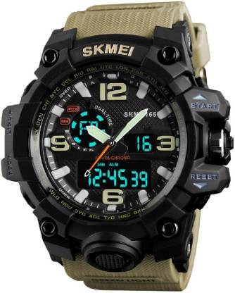 Skmei 1155 Khaki Chronograph Analog Digital Analog-Digital Watch - For Men
