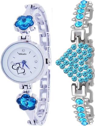 Mikado New Arrival Stylish Attractive Ethnic Blue Bracelet Look Analog Watch for Girls Analog Watch - For Women