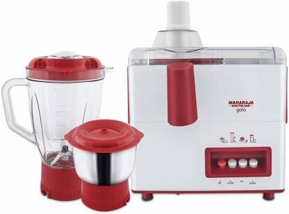 MAHARAJA WHITELINE Gala JX-117 450-Watt Juicer Mixer Grinder with 2 Jars (White/Majestic Maroon) 450 Juicer Mixer Grinder (2 Jars, multycolour)