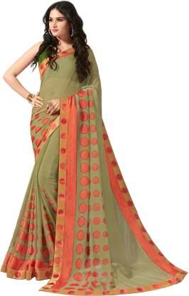 Printed Fashion Chiffon Saree  (Light Green)