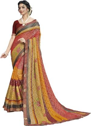 Printed Fashion Chiffon Saree  (Red, Yellow)