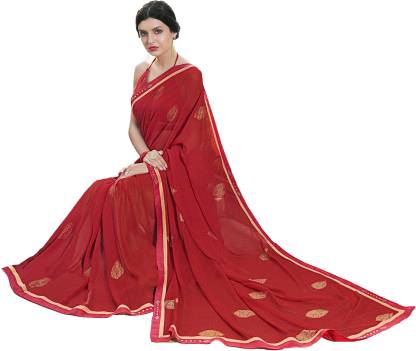 Self Design Fashion Chiffon Saree  (Maroon)