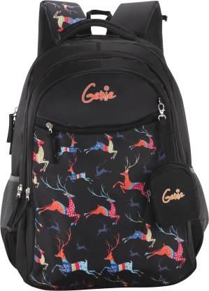 Genie Dasher Black 15 inch Backpack Waterproof School Bag