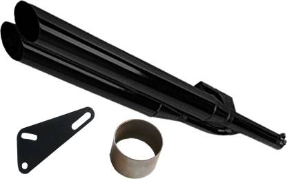 WORDZ Dual / Double Free Flow Black Exhaust silencer Royal Enfield Electra Delux Full Exhaust System