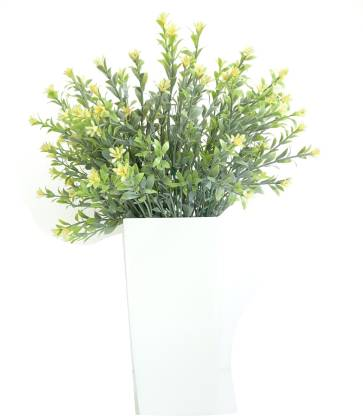 Pebble Concepts Fiber Vase with green fillers Bonsai Wild Artificial Plant  with Pot