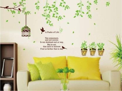 Golden Cart Large Nature Wall Stickers I Green Trees Wall Stickers I Garden Wall Stickers I