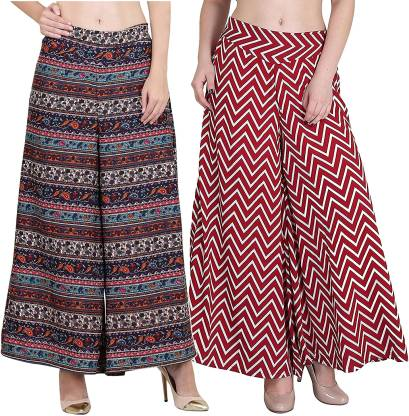 Flared Women Multicolor Poly Crepe Trousers