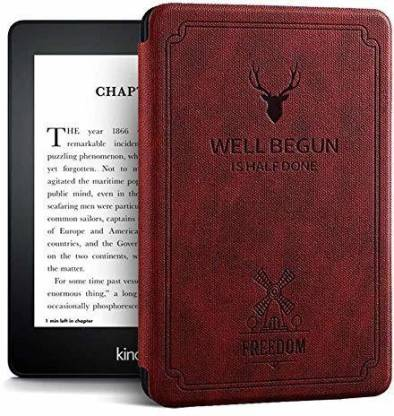 YAOJIN Flip Cover for Designer Smart Flip case Cover for All Amazon Kindle Paperwhite 10th Generation (Deer Wine Red)(Red)