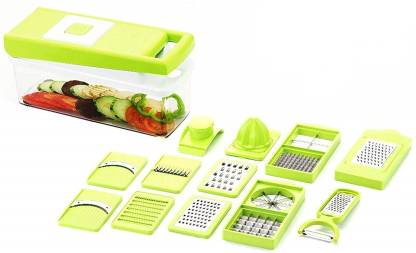 DOERSHAPPY 12 in 1 Multipurpose Vegetable & Fruit Cutter Slicer Grater With Unbreakable Container Vegetable & Fruit Grater & Slicer