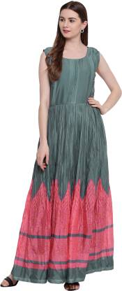 Floral Print Poly Silk Stitched Flared/A-line Gown  (Pink, Grey)