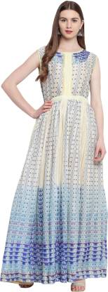 Abstract Poly Silk Stitched Flared/A-line Gown  (White, Blue)