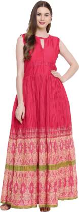 Printed Poly Silk Stitched Flared/A-line Gown  (Pink)