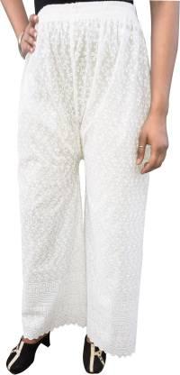 Regular Fit Women White Cotton Blend Trousers