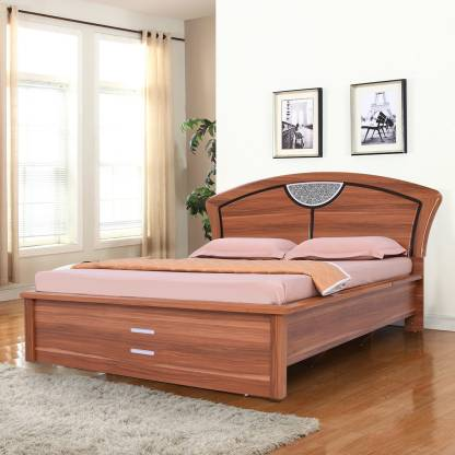 Beige Color Finish Swift Engineered Wood Queen Hydraulic Bed – RoyalOak