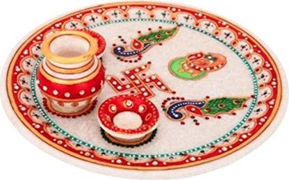 JC Crafts & Fabrics Marble Ganesh ji Peacock Painting Pooja Thali Set with Kalash and Diya Marble