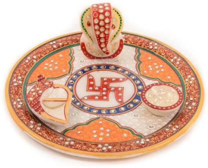 JC Crafts & Fabrics Ganesh ji Peacock Painting Pooja Thali Set With Kalash, Chopra and Diya Marble