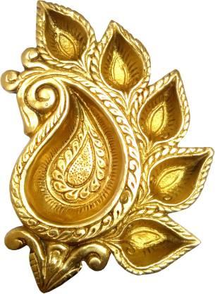 purpledip Royal Collection Brass Platter: Home Temple Oil Lamp with 5 Diya Brass Table Diya