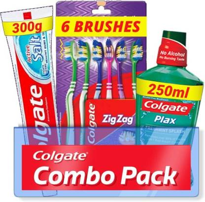 Colgate Active Salt Combo 6 Brushes, Mouthwash, Toothpaste  (Set of 3)