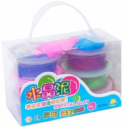 Pasanda Crystal Putty Jelly Slime Set of 6 Multicolor Putty Toy