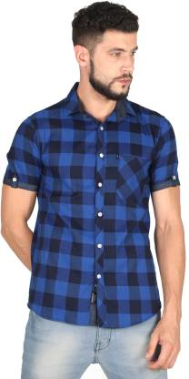 Rope Men Checkered Casual Blue, Black Shirt