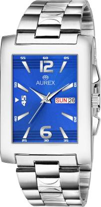 AUREX AX-GSQ152-BLC Elegant Blue Dial Square Shaped Day & Date Functioning Stainless Steel Bracelet Premium Watch for Men/Boys Analog Watch - For Men