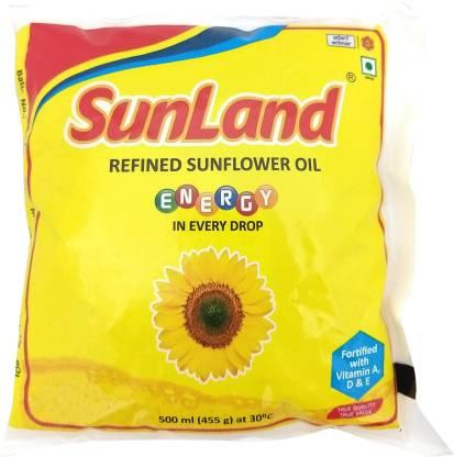 Sunland Refined Sunflower Oil Pouch  (500 ml)