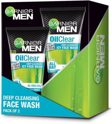 Garnier Men Oil Clear Deep Cleansing Icy Facewash, Pack of 2 Face Wash