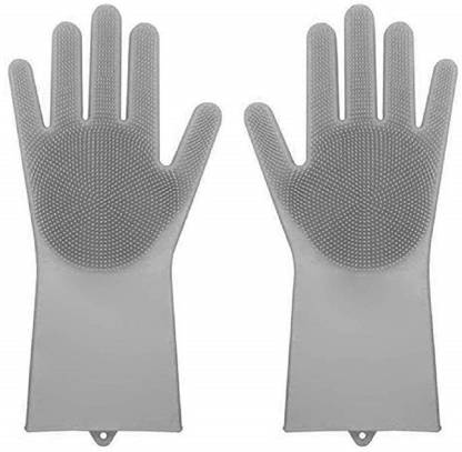 1 Pair Gray Silicone Cleaning Brush Scrubber Gloves Heat Resistant Dish Washing