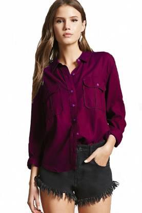C.Cozami Women Solid Casual Maroon Shirt