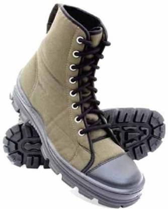 mega star Men's olive green Ankle Boots Perfect for professionals working in security, defence and railways polish army multiuser shoe Boat Shoes For Men