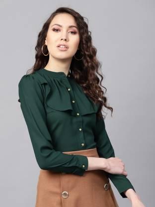 Sassafras Women Solid Casual Green Shirt