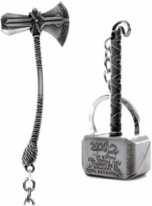 BBS DEAL Marvel Avengers Infinity War Thor Axe-Hammer & Mjolnir- Hammer Stormbreaker Silver Metal Keychain & Keyring (Pack of 2) Key Chain