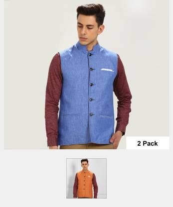 Park Avenue Sleeveless Self Design Men Jacket