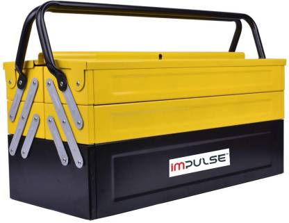 Impulse High Grade Metal Tool Box for Tools/Tool Kit Box for Home and Garage/Tool Box Without Tools-5 Compartment(Yellow & Black) Powder Coated Tool Box